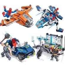 4pcs Avengers 4 Super Heroes Ultimate Battle Spider Man Thor Panther Building Blocks Bricks Boy Toys B682