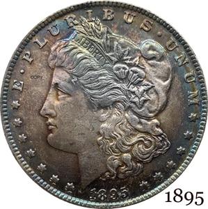 Соединенные Штаты Америки 1895 Морган один доллар Монета США Свобода Мельхиор Посеребренная в Боге мы доверяем копия монеты