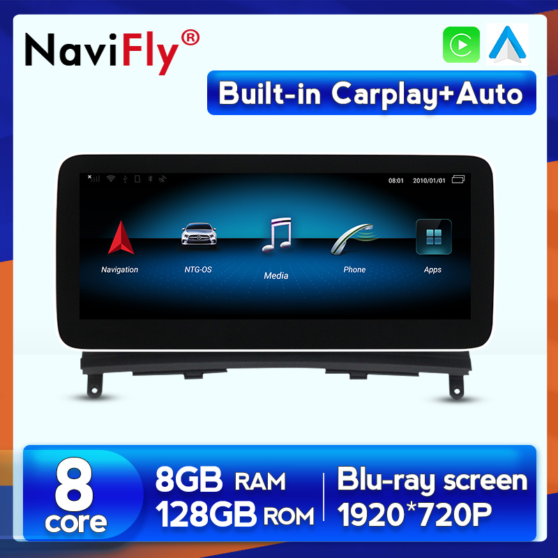 Autoradio Android 10, 8 go/128 go, navigation GPS, lecteur dvd/Audio, NTG 2008/2014, pour voiture Mercedes BENZ C, W204, C180, C200, C220 (4.0-4.5)