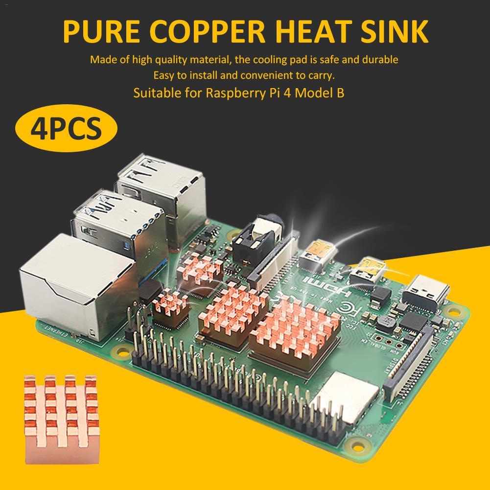 4 Uds disipador de calor de cobre puro de refrigeración Pad disipador térmico radiador enfriador Durable de alta calidad para Raspberry Pi Modelo B 1G 2G 4G