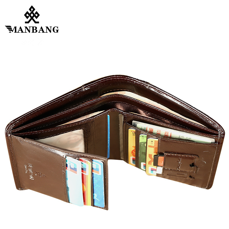 ManBang Male Genuine Leather Wallets Men Wallet Credit Business Card Holders Vintage Brown Leather Wallet Purses High Quality 3