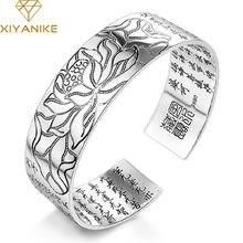XIYANIKE-Bracelet en argent Sterling 925 pour femmes, bijou religieux Vintage, élégant motif de Lotus, manchette, en argent thaïlandais, taille ajustable
