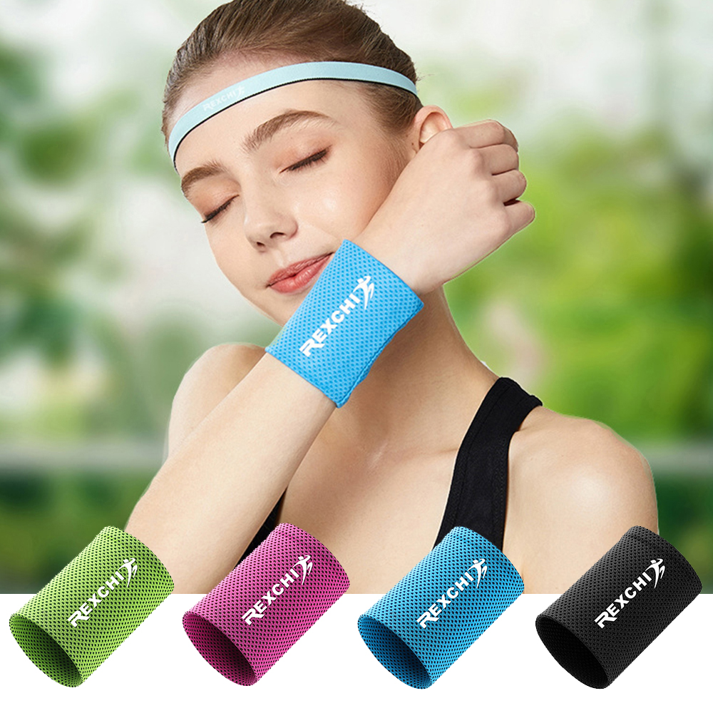 1pcs Wrist Brace Support Breathable Ice Cooling Sweat Band Tennis Wristband Wrap Sport Sweatband For Gym Yoga Volleyball 3