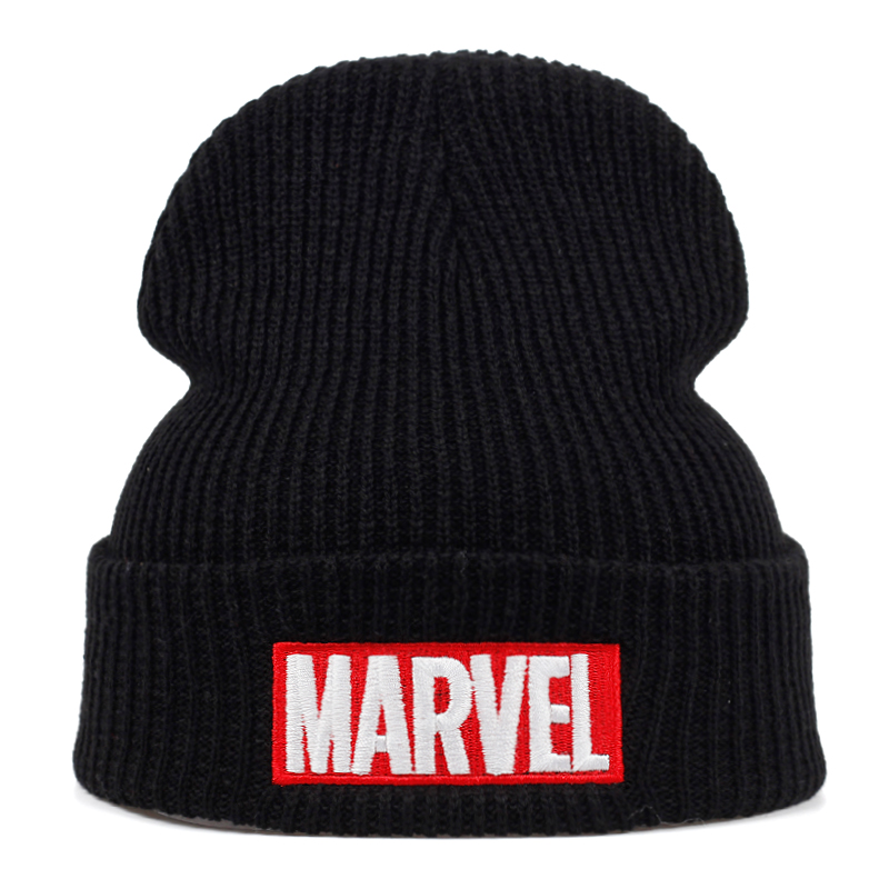 High Quality Marvel Letter Cold Cotton Casual Beanies For Men Women Fashion Knitted Winter Hat Hip-hop Skullies Hat