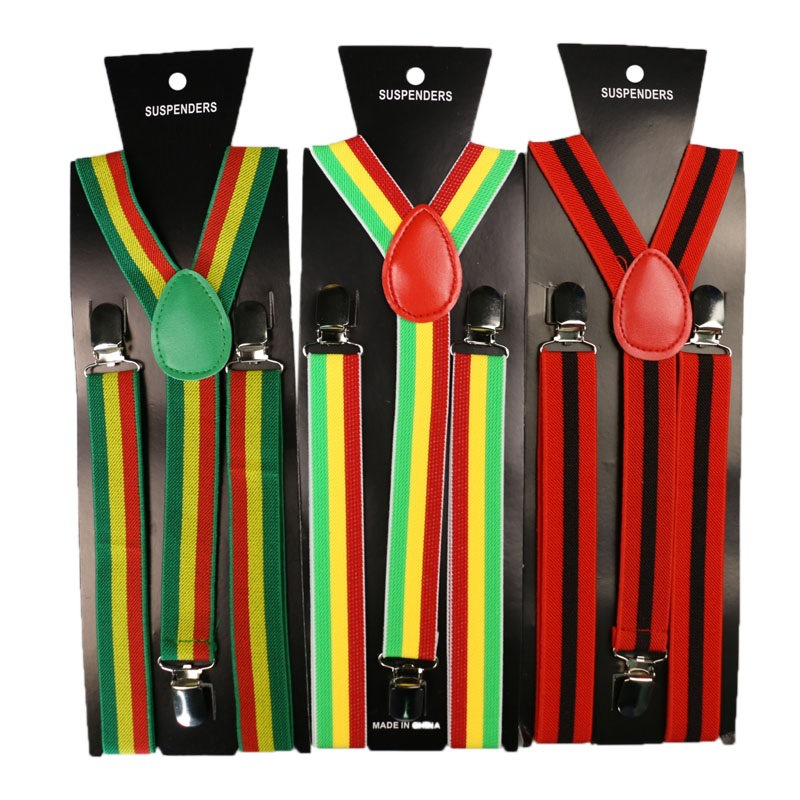3-color Elastic Suspenders Men Women 2.5*100CM Striped Printed Adult Fashion 3 Clips Jacquard High Quality Accessories Suspender