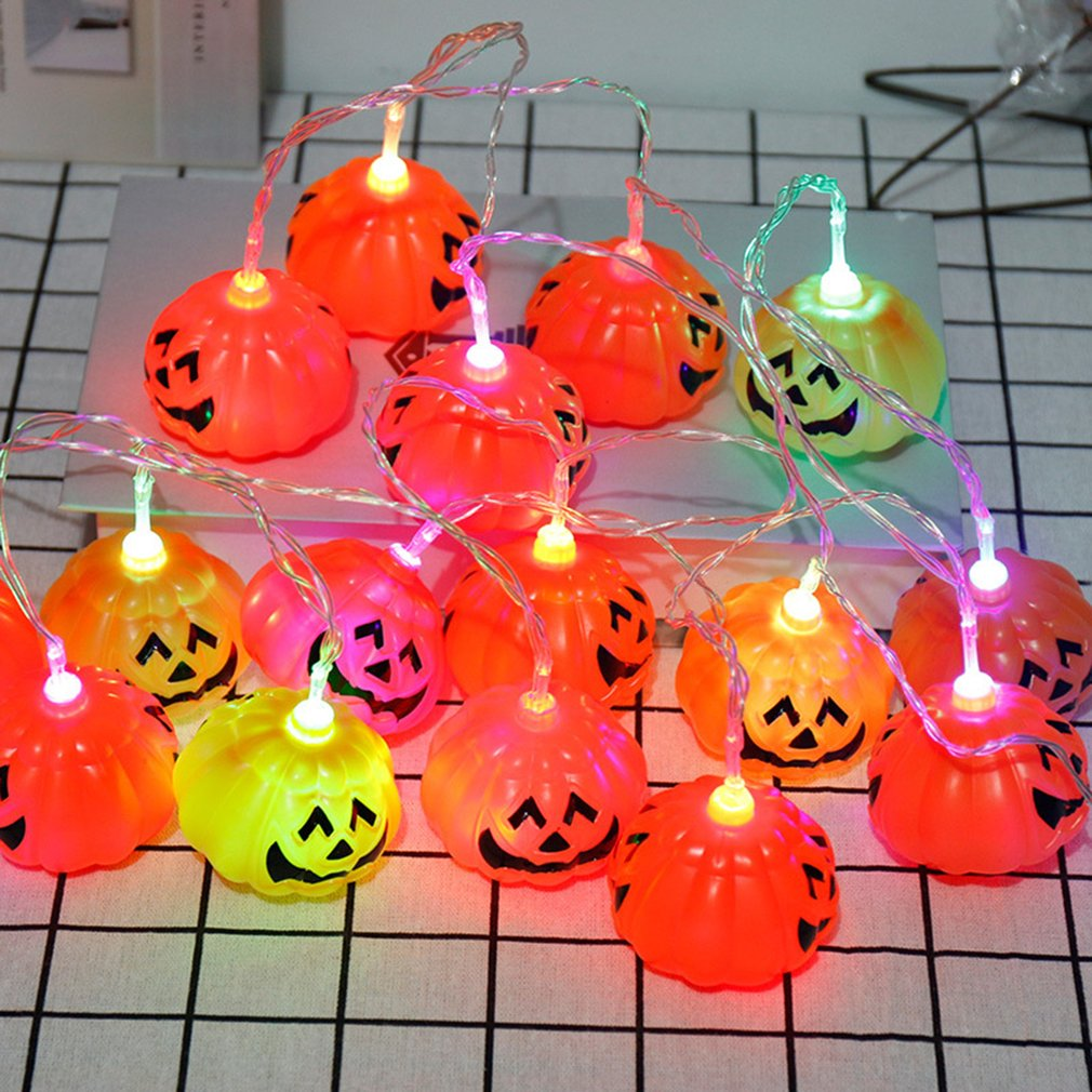 10 LED Pumpkin String Fairy Lights Lantern Party Home Props Halloween Decoration With Socket Light
