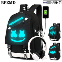 new DJ Marshmellow luminous backpack multifunction USB charging Anti theft for teenagers boys Girls Student School Bag