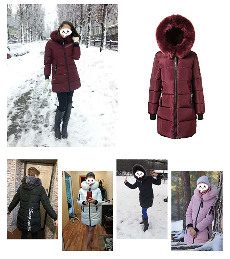 Parka Women Winter Coats Long Cotton Casual Fur Hooded Jackets Women Thick Warm Winter Parkas Female Overcoat Coat 19 MLD1268 3