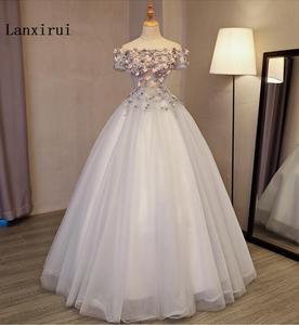 Image 2 - Женское Пышное Платье Lanxirui, серое бальное платье ручной работы с открытыми плечами и цветами, для зимы