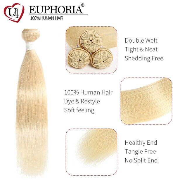 Ombre Platinum Blonde Human Hair Bundles With Lace Closure 6