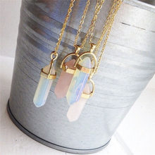 LIDUO Real Raw Gem Pink Purple Crystal Hexagonal Bullet Reiki Point Chakra Natural Stone Pendant 2019 Necklace Women Jewelry()