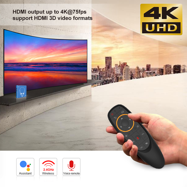 Beelink GT PRO rey S922X-H Quad-core Android 9,0 Dispositivo de TV inteligente 4G + 64G ROM 2,4G/5,8G WIFI USB 3,0 Blutooth4.1 HDMI tv box player