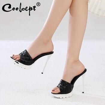 Coolcept Women Shoes Sandals Genuine leather Peep Toe Thin High Heels Platform Slippers Slides Shoes Ladies Footwear size 33-40