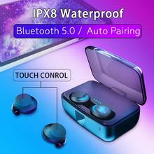 CALETOP TWS Bluetooth 5.0 Earphone Wireless Mini Earbuds with Dual Microphones IPX8 Sport Swimming Headset 3000mAh Charging Box