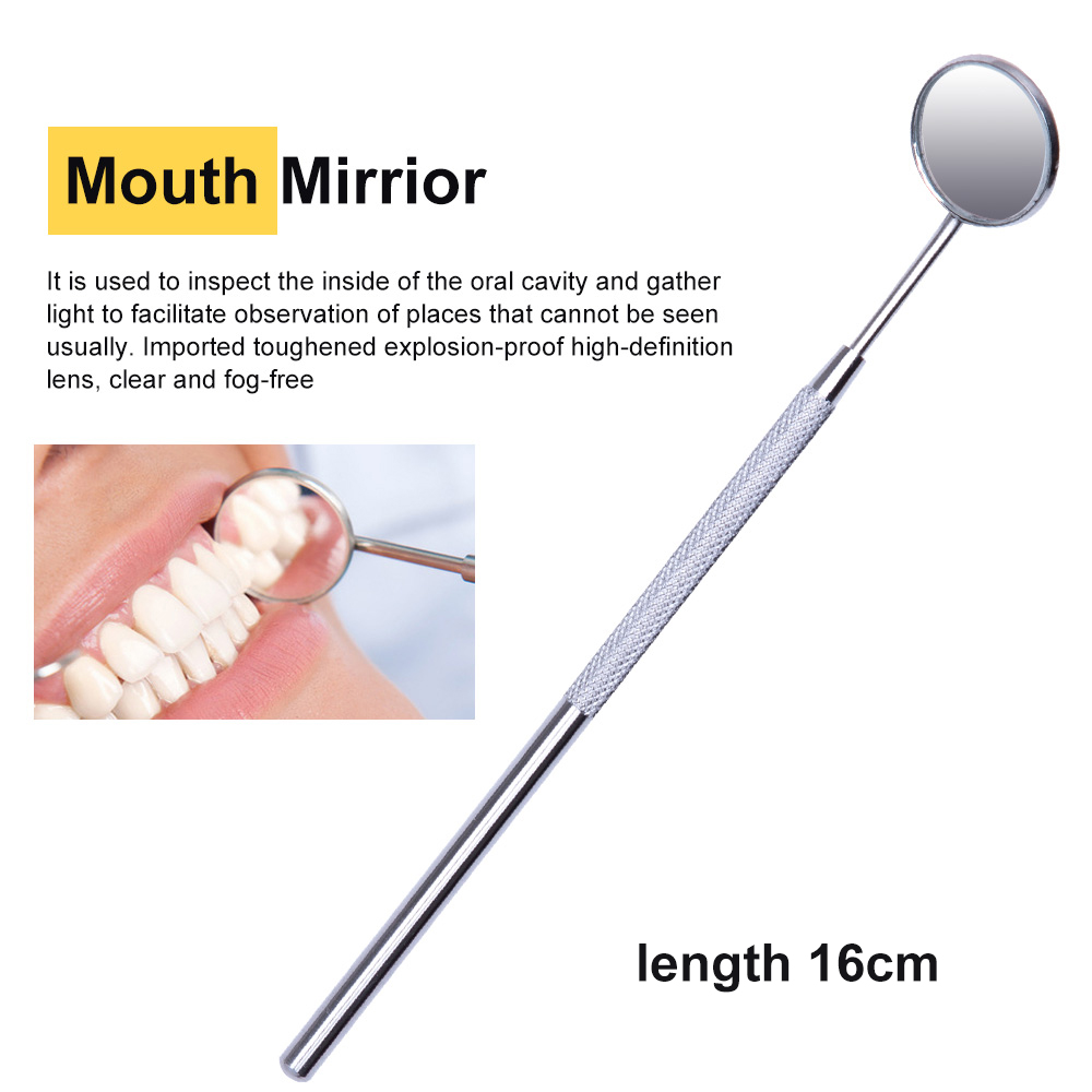 5PC/set Stainless Steel Dental Mirror Dental Tool Set With Bag Mouth Mirror Dental Kit Instrument Oral Care Dentist Prepare Tool