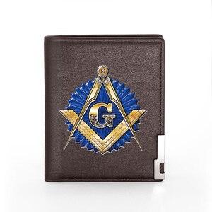 2020 nouveau haute qualité gratuit et accepté maçons Logo impression portefeuille en cuir synthétique polyuréthane hommes à deux volets crédit porte-carte court sac à main mâle