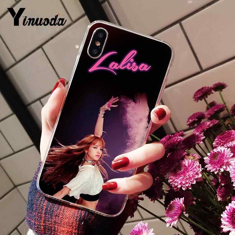 Yinuoda الأسود الوردي k-البوب الفاخرة فريد تصميم الهاتف غطاء ل فون 8 7 6 6S زائد X XS ماكس 5 5S SE XR قذيفة 11 11pro 11 بروماكس