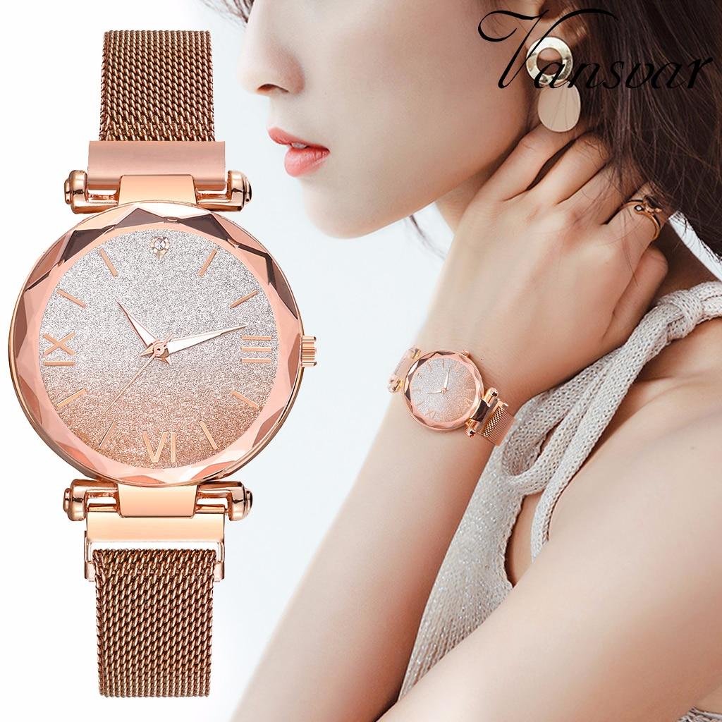 Mulheres Moda quente Ímã Fivela Gradiente Starry Sky Roma Assistir Senhoras de Aço Inoxidável Relógios de Quartzo Relógio de Presente de Luxo