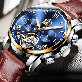 Top Brand IK Colouring Watches Men Luxury Mechanical Watches Tourbillon Automatic Watches Men Fashion Skeleton Watches Leather