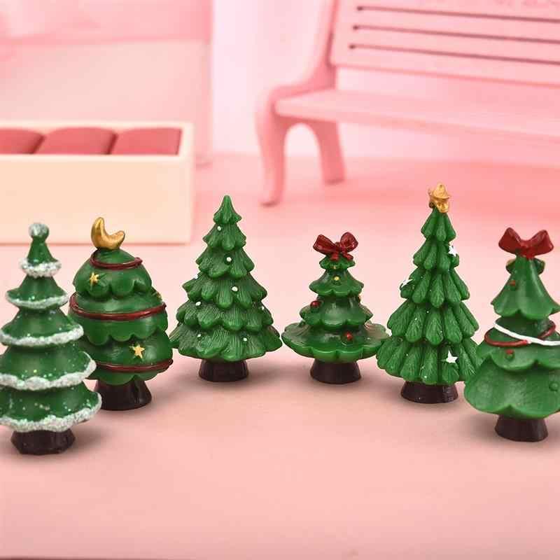 6 個かわいいメリークリスマスオーナメントテラリウムアクセサリー妖精の庭の置物人形の家の装飾