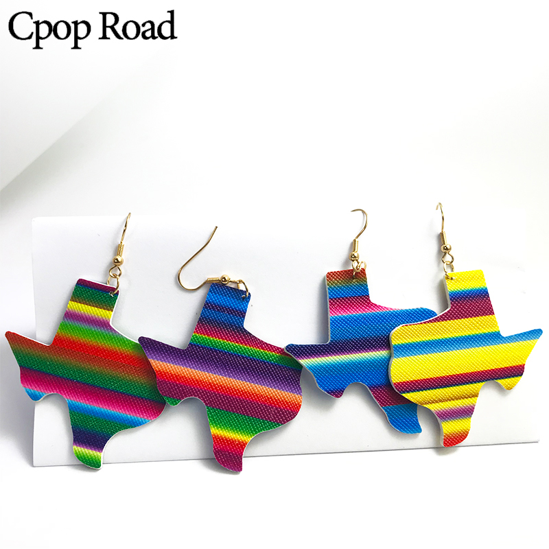 Cpop New Trendy Geometric Map PU Leather Earrings For Women Color Personality Dangle Earrings Fashion Jewelry Accessories Gifts