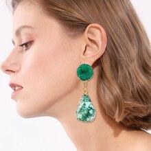 HOCOLE Fashion Bohemian Druzy Earrings For Women Geometric Colorful Big Resin Stone Crystal Drop Earring Jewelry 2019 Brincos
