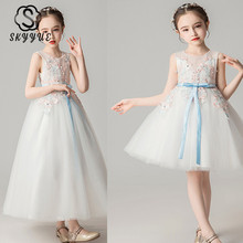 Skyyue Lace Flower Girl Dresses Appliquie Tank Tulle Flower Girl's Dress for Wedding O-neck White Communion Gowns 2019 DK2995 skyyue girl pageant dress lace ruffles crystal tulle flower girl s dresses for wedding o neck bow communion gowns 2019 736