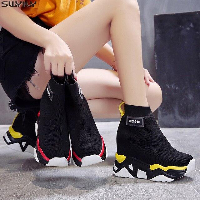 SWYIVY רשת טריז נעלי פלטפורמת אישה מגפי גבירותיי חדש מוצק 2019 סתיו להחליק על קרסול מגפי נשים בוהן עגול נעליים נשיות