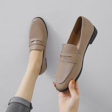 Moccasins Women Loafers Oxford-Shoes Chunky-Heels Brogues Size-44 Slip On Round-Toe All-Match
