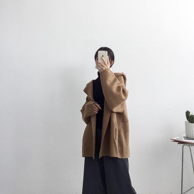 AYUNSUE Autumn Winter 2020 New Cardigans Women Long Sleeve Sweater Female Loose Hooded Cardigan Womens Black Clothing LX1877