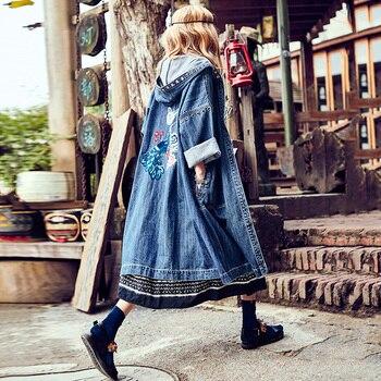 Chaquetas vaqueras Vintage bohemias, abrigo Vaquero de algodón bordado para mujer para otoño 2019, abrigo de encaje con capucha de manga larga, chaquetas informales de ropa larga