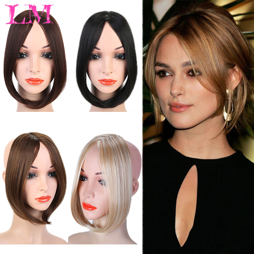 Fashion Long Clip In on Front Hair  Side/Middle Part Fringe Hair Synthetic Wig Natural Black Brown  Black High Temperature Fiber