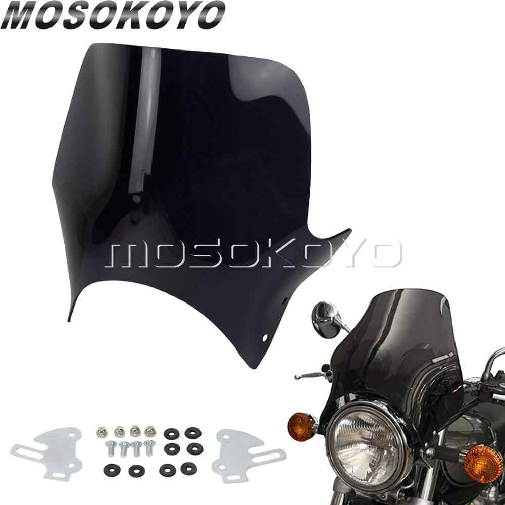 "7"" Round Headlight Windshield Fairing Mask Wind Screen Air Deflector for Honda CB 250 400 600 CB750 CB900 CB919 Hornet Street"