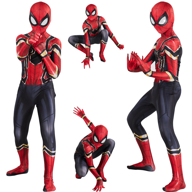 New Iron Spider Boy Costume Cosplay Kids Superhero Costume Boys Children Jumpsuit Suit Halloween Costume For Kids Carnival Party