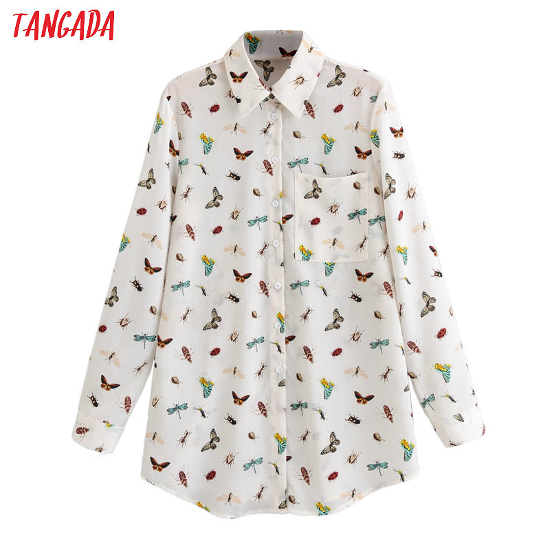 Tangada Women Retro Animal Print Chiffon Blouse Long Sleeve Chic Female Casual Loose Shirt Blusas Femininas 1F75