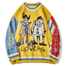 LACIBLE Harajuku Pullover Pullover Männer Patchwork Clown Drucken Gestrickte Pullover Hip Hop Streetwear Retro 2021 Frühjahr Männlichen Lose Tops