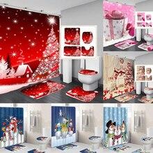 10 видов Рождественская задняя капля Снежный принт Водонепроницаемая занавеска для ванной комнаты занавеска для ванной унитаза коврик набор нескользящих ковриков