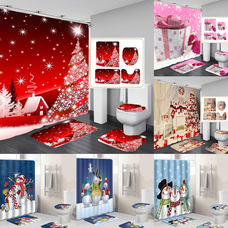 Christmas Snow Printing Made Of Polyester Fiber Material Suitable For Bathroom And Toilet