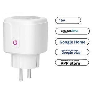 Image 1 - WiFi חכם תקע 16A האיחוד האירופי שקע Tuya חכם חיים אפליקציה לעבוד עם Alexa Google בית עוזר קול בקרת כוח צג עיתוי