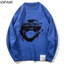 ICPANS Print Hip Hop Sweater Men Cotton Wool Kintted 2019 Winter Autumn Fashion Streetwear Pullovers Sweaters Male Clothing