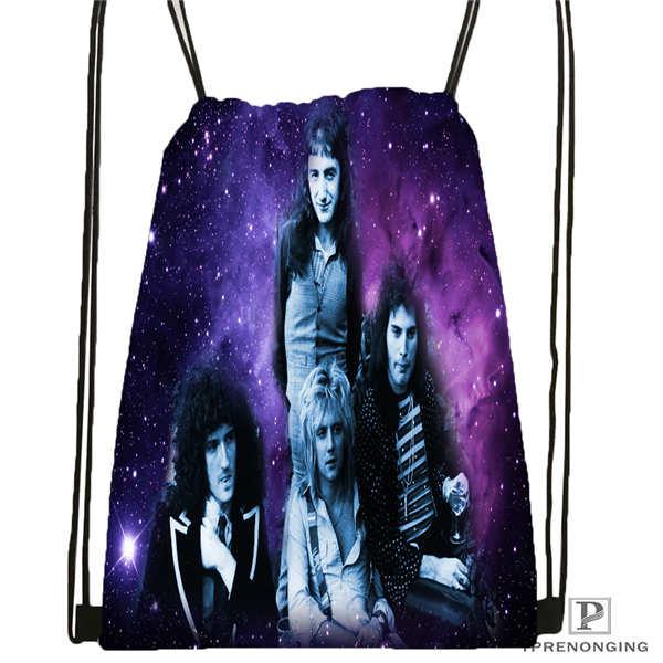 Custom Queen Band@02 Drawstring Backpack Bag Cute Daypack Kids Satchel (Black Back) 31x40cm#180611-01-05