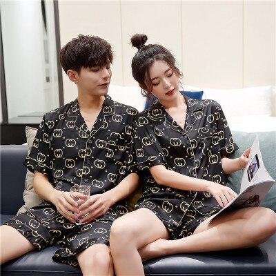 Summer satin chiffon pajamas / short sleeved shorts simulation silk home service / plus size cardigan ice silk couple pajamas|Men's Pajama Sets| - AliExpress