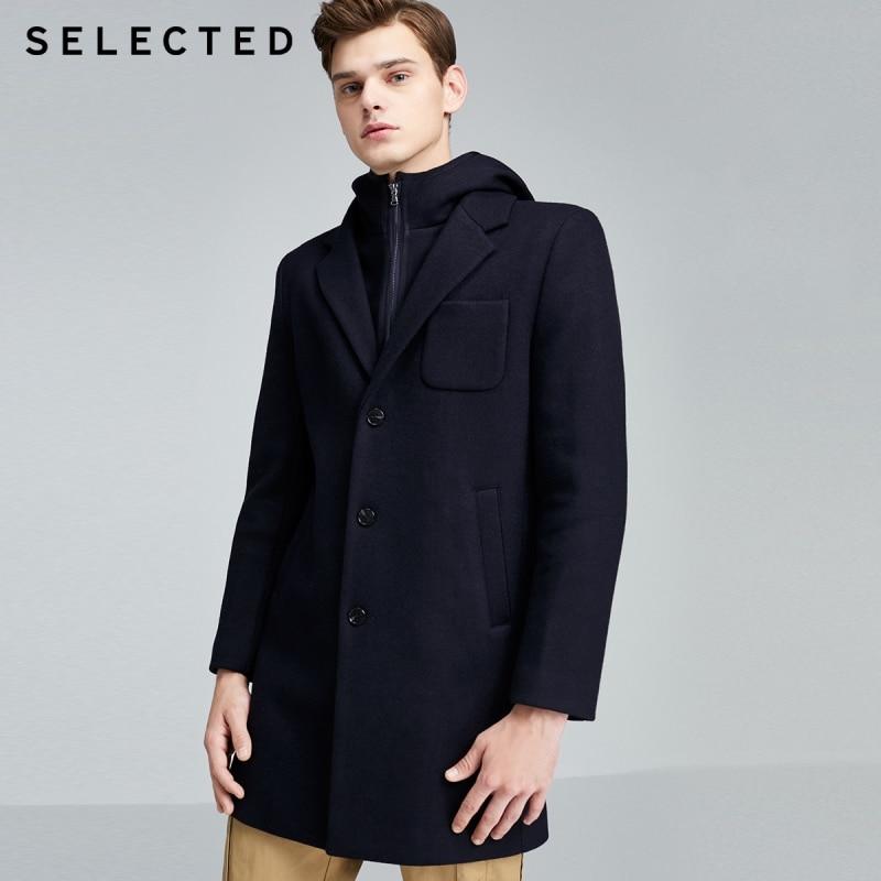 SELECTED Men's Woolen Hooded Outwear Winter Mid-length Wool Coat S|419427530