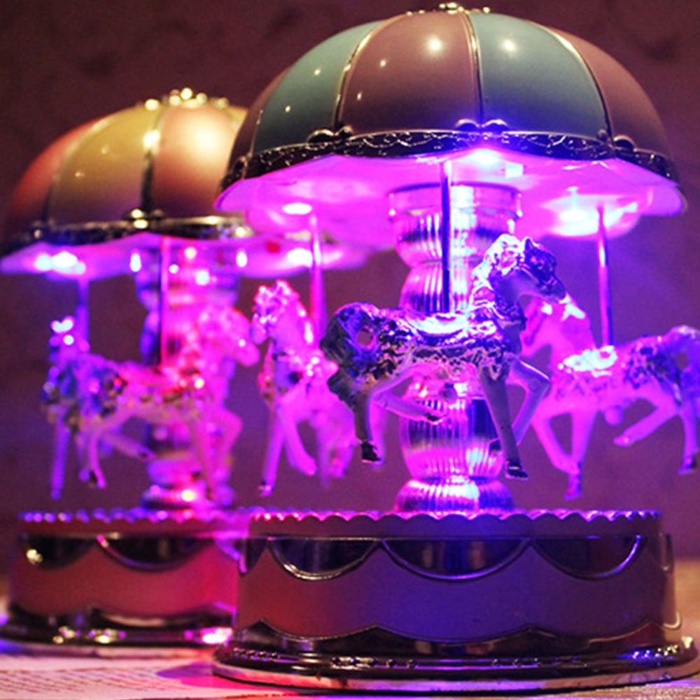 Permalink to Music Box Musical Box Carousel Music Box Clockwork Wedding Kids Toy Romantic Exquisite LED Light Merry Go Round