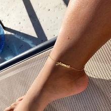 Персонализированный именной браслет на ногу для женщин золотая