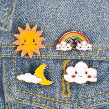 Weather Enamel Lapel Pins Button Badges Rainy Cloudy Suny Rainbow Brooches Cute Jewelry Accessories Gift for Bag Jeacket image