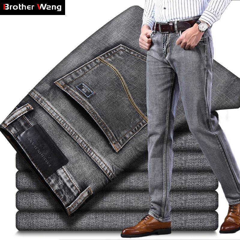 Fit Jeans Gray Pants Regular Denim Trousers Stretch Classic-Style Black Business Casual