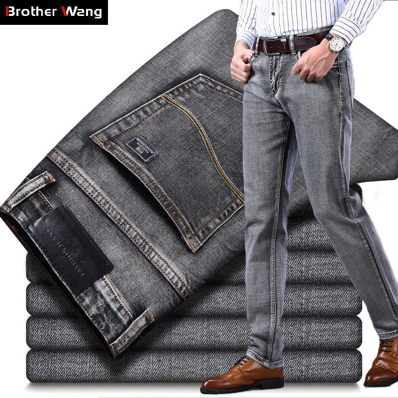 Fit Jeans Pants Regular Denim Trousers Stretch Gray Business Classic-Style Blue Black