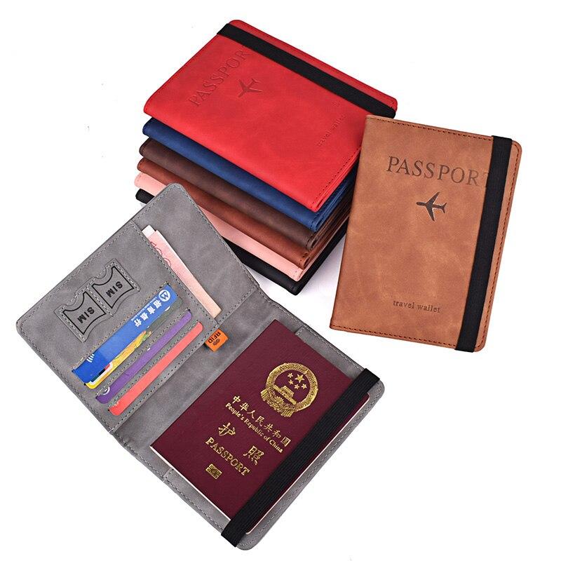 Elastische Band Lederen Paspoort Cover Rfid Blocking Voor Kaarten Reizen Paspoorthouder Portemonnee Document Organizer Case Mannen Vrouwen