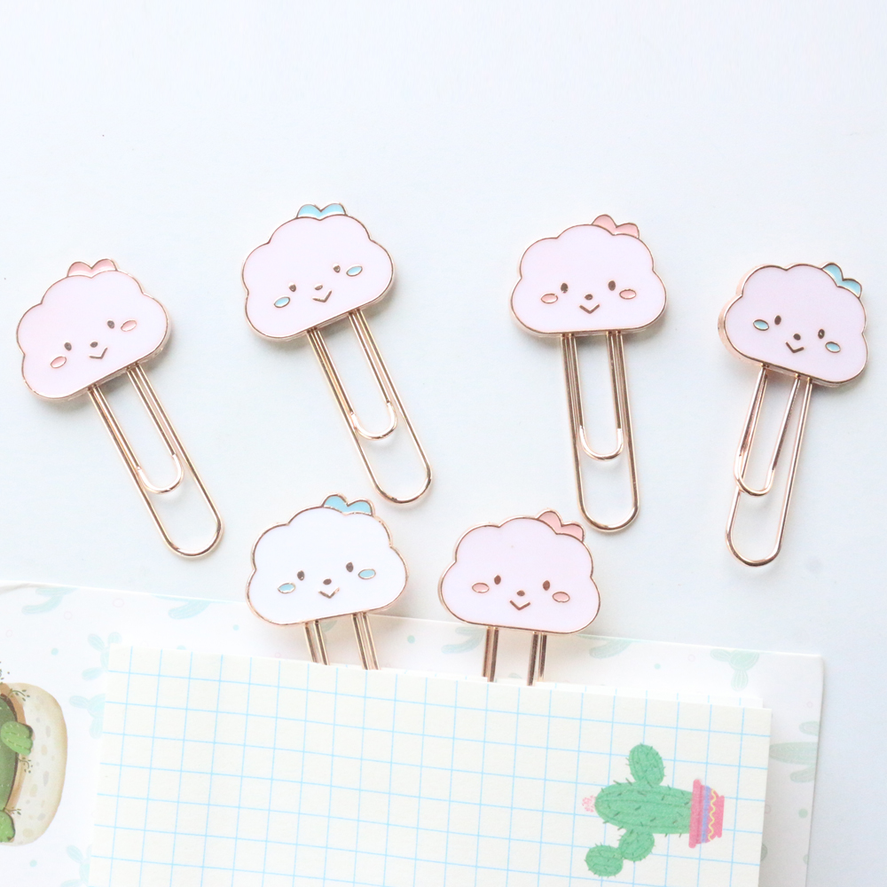 Domikee Cute Kawaii Korean Cartoon Smile Cloud Design Office School Metal Paper Clips Candy Kids Memo Clips Bookmark Stationery